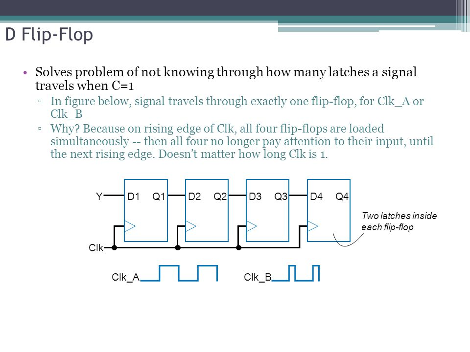 D Flip-Flop Solves problem of not knowing through how many latches a signal travels when C=1 ▫In figure below, signal travels through exactly one flip-flop, for Clk_A or Clk_B ▫Why.