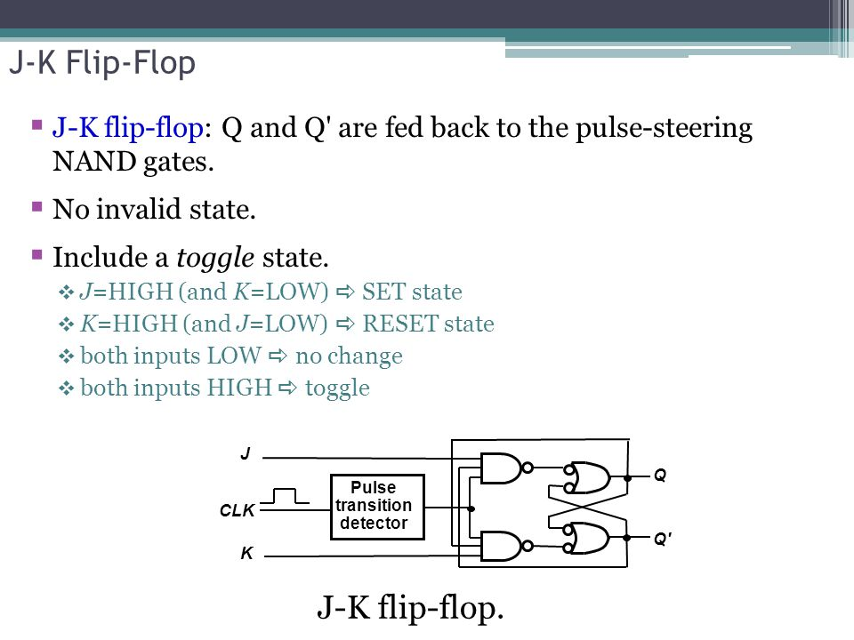 J-K Flip-Flop  J-K flip-flop: Q and Q are fed back to the pulse-steering NAND gates.