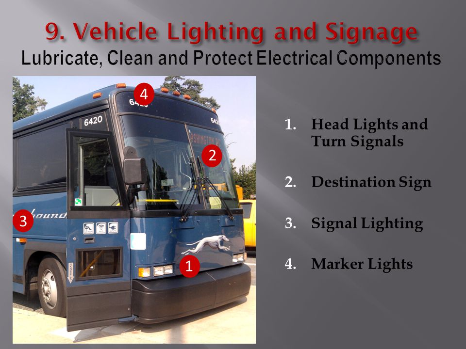 1.Head Lights and Turn Signals 2.Destination Sign 3.Signal Lighting 4.Marker Lights