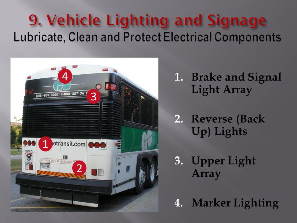 1.Brake and Signal Light Array 2.Reverse (Back Up) Lights 3.Upper Light Array 4. Marker Lighting