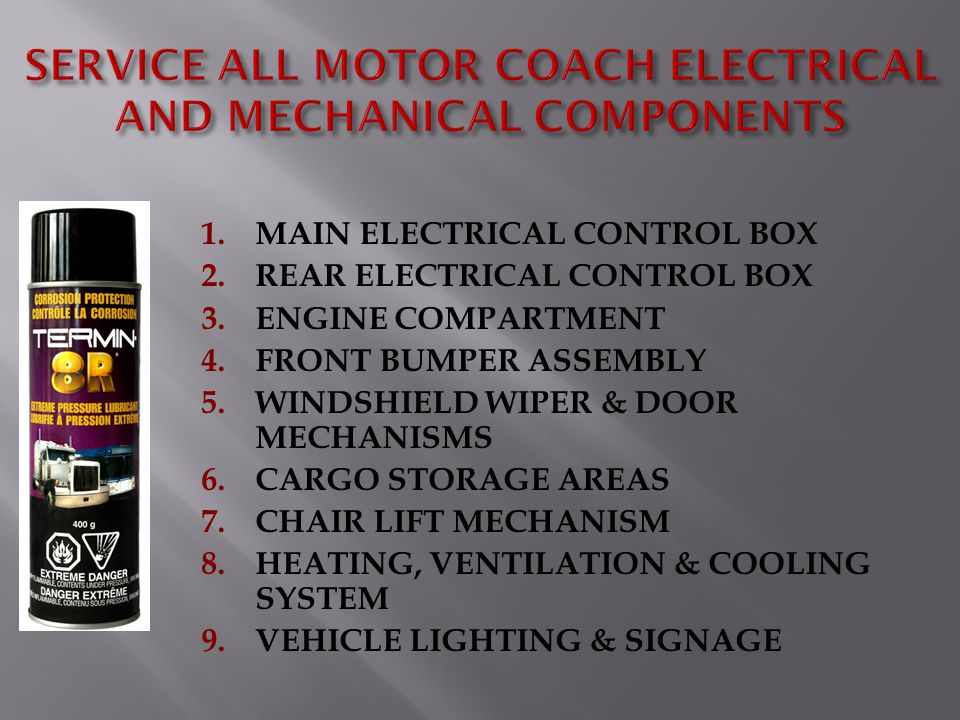 1.MAIN ELECTRICAL CONTROL BOX 2.REAR ELECTRICAL CONTROL BOX 3.ENGINE COMPARTMENT 4.FRONT BUMPER ASSEMBLY 5.WINDSHIELD WIPER & DOOR MECHANISMS 6.CARGO