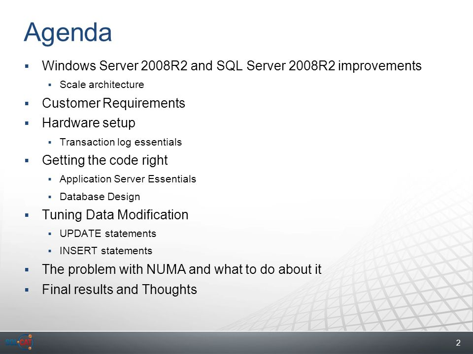 3 Upping the Limits  Previous (before 2008R2) windows was limited to 64 cores  Kernel tuned for this config  With Windows Server 2008R2 this limit is now upped to 1024 Cores  New concept: Kernel Groups  A bit like NUMA, but an extra layer in the hierarchy  SQL Server generally follows suit – but for now, 256 Cores is limit on R2  Currently, largest x64 machine is 128 Cores  And largest IA-64 is 256 Hyperthread (at 128 Cores)