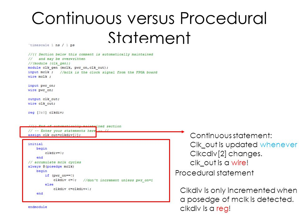 Continuous versus Procedural Statement Procedural statement Continuous statement: Clk_out is updated whenever Clkcdiv[2] changes.