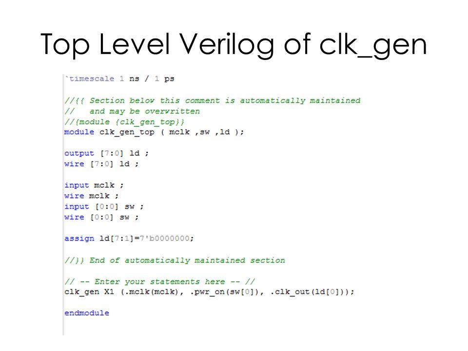 Top Level Verilog of clk_gen