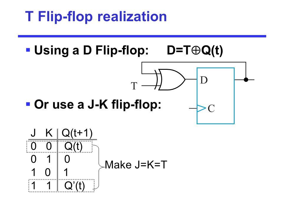 T Flip-flop realization  Using a D Flip-flop: D=T  Q(t)  Or use a J-K flip-flop: C D T J K Q(t+1) 0 0 Q(t) 0 1 0 10 1 1 1 Q'(t) Make J=K=T