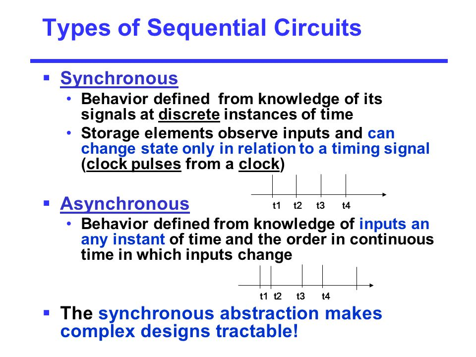 Types of Sequential Circuits  Synchronous Behavior defined from knowledge of its signals at discrete instances of time Storage elements observe input