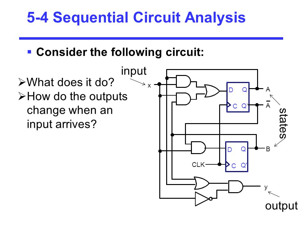 5-4 Sequential Circuit Analysis  Consider the following circuit:  What does it do?  How do the outputs change when an input arrives? input states o