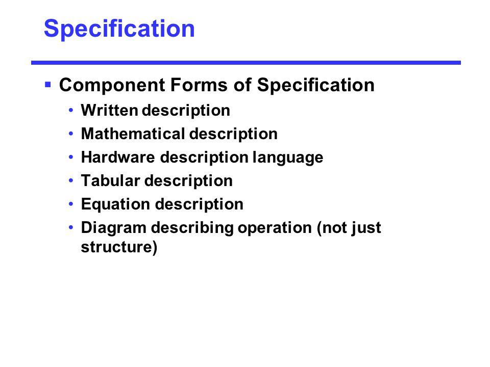 Specification  Component Forms of Specification Written description Mathematical description Hardware description language Tabular description Equati