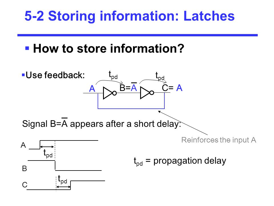 Latches: Cross-coupled NORs 1 2 A=0 B=A=1 C= A=0 0 0 How to change contents A from 0 to 1: apply 1 to the first input Set Hold or memory A=0 is memorized We have written 1 into the latch: set operation 0 1 0 0 0 1 2 1 0 1 1 0 Making the input go to 0 again will memorize the output C= 1 1 1 1 0 0