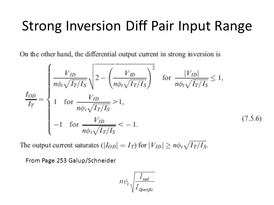 Strong Inversion Diff Pair Input Range From Page 253 Galup/Schneider
