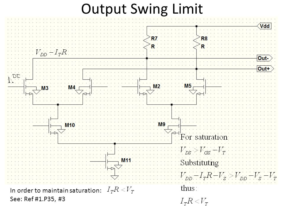 Output Swing Limit In order to maintain saturation: See: Ref #1.P35, #3