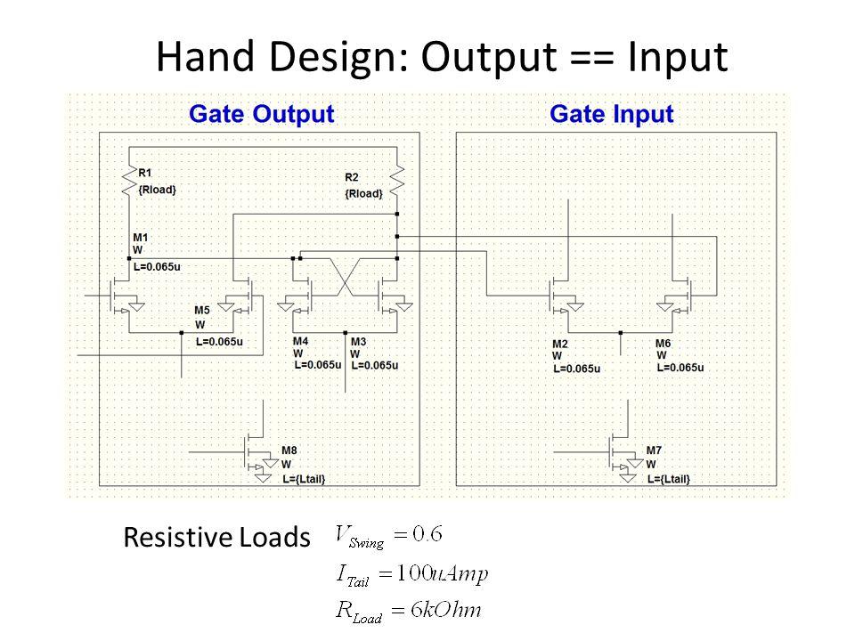 Hand Design: Output == Input Resistive Loads