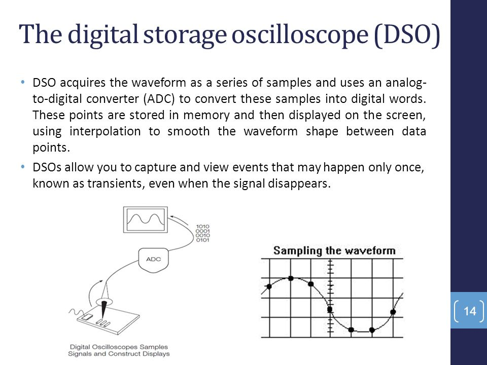 The digital storage oscilloscope (DSO) DSO acquires the waveform as a series of samples and uses an analog- to-digital converter (ADC) to convert thes