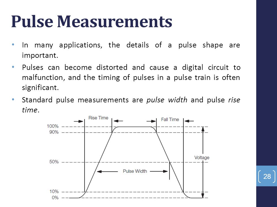Pulse Measurements In many applications, the details of a pulse shape are important. Pulses can become distorted and cause a digital circuit to malfun