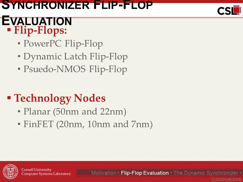 S IMULATION T ECHNIQUE Page 7 of 35 Motivation Flip-Flop Evaluation The Dynamic Synchronizer Conclusions Zhou and Ashouei et al, Microelectronics Journal, 2011