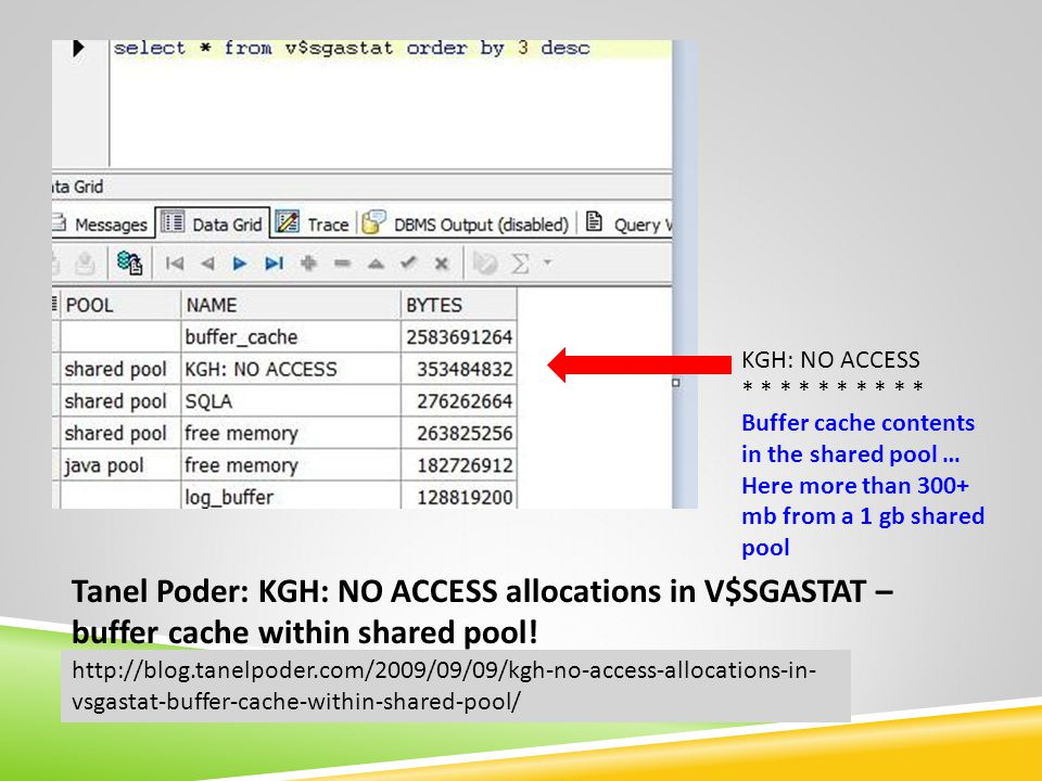KGH: NO ACCESS * * * * * Buffer cache contents in the shared pool … Here more than 300+ mb from a 1 gb shared pool http://blog.tanelpoder.com/2009/09/