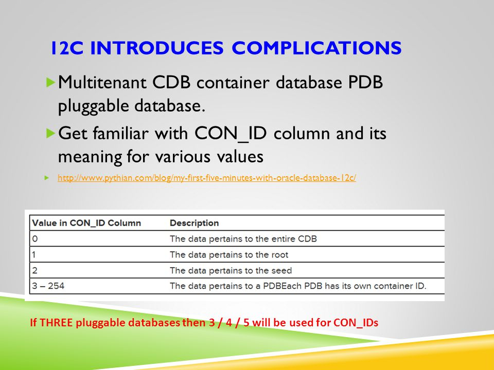 12C INTRODUCES COMPLICATIONS  Multitenant CDB container database PDB pluggable database.