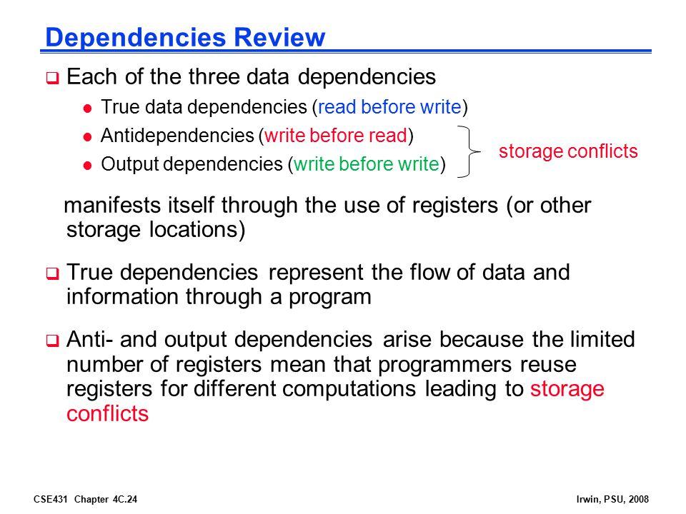 CSE431 Chapter 4C.24Irwin, PSU, 2008 Dependencies Review  Each of the three data dependencies l True data dependencies (read before write) l Antidepe
