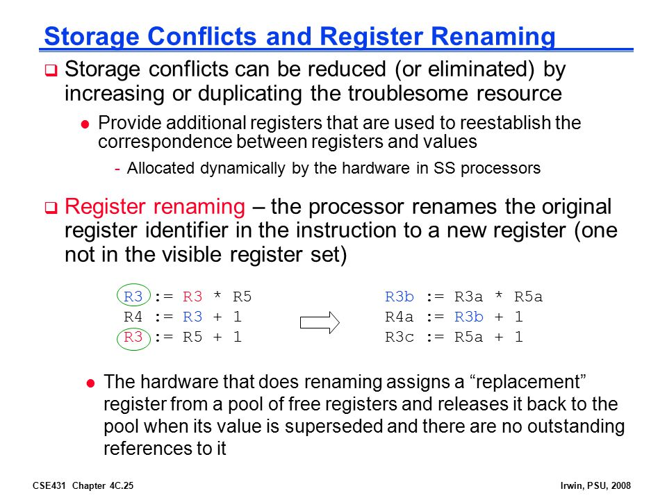CSE431 Chapter 4C.25Irwin, PSU, 2008 Storage Conflicts and Register Renaming  Storage conflicts can be reduced (or eliminated) by increasing or dupli