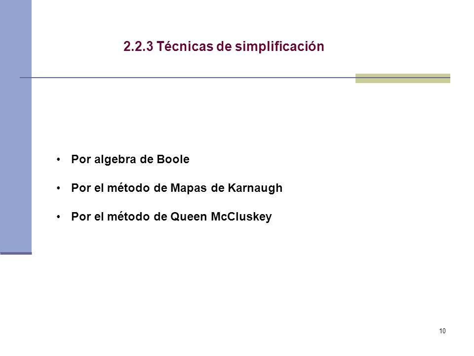 10 2.2.3 Técnicas de simplificación Por algebra de Boole Por el método de Mapas de Karnaugh Por el método de Queen McCluskey