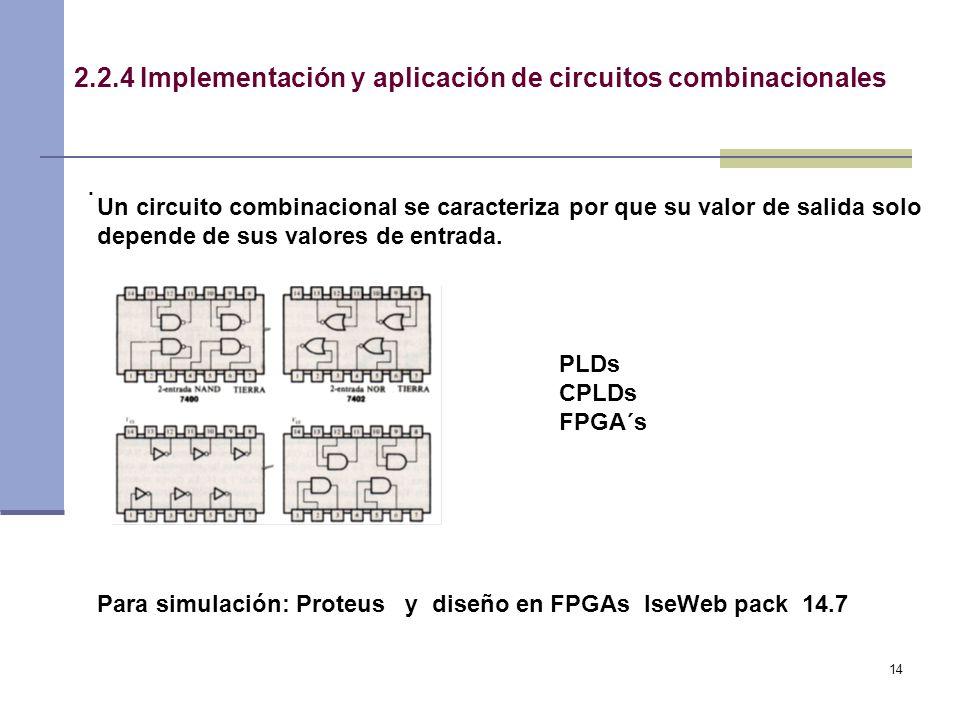 14 2.2.4 Implementación y aplicación de circuitos combinacionales.