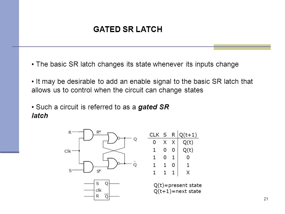 21 The basic SR latch changes its state whenever its inputs change It may be desirable to add an enable signal to the basic SR latch that allows us to control when the circuit can change states Such a circuit is referred to as a gated SR latch GATED SR LATCH