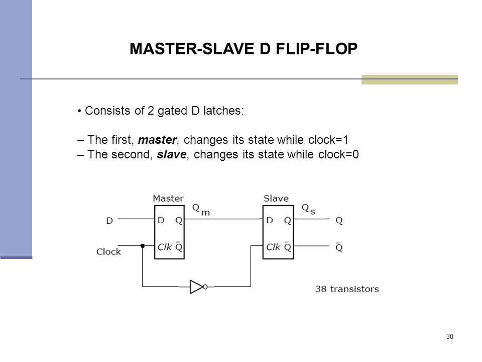 30 Consists of 2 gated D latches: – The first, master, changes its state while clock=1 – The second, slave, changes its state while clock=0 MASTER-SLAVE D FLIP-FLOP