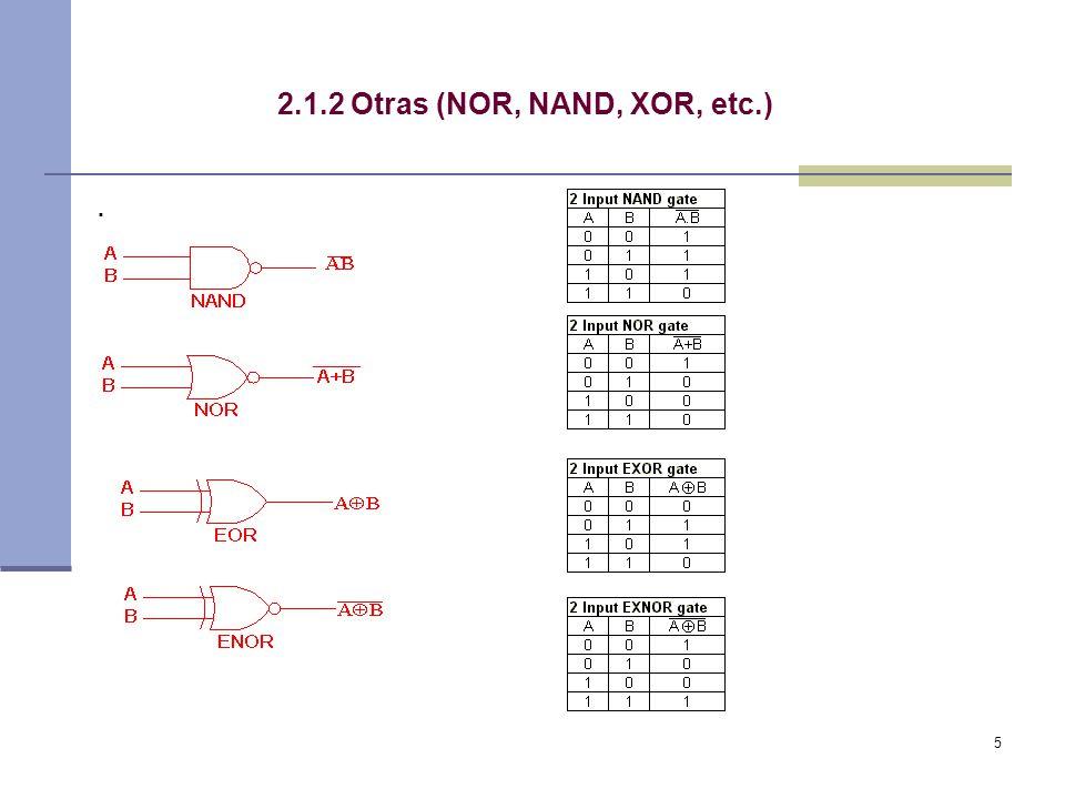 5 2.1.2 Otras (NOR, NAND, XOR, etc.).