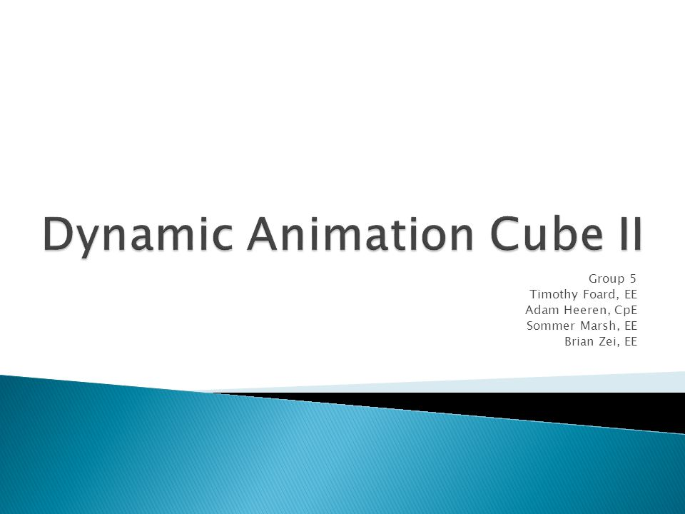  The Dynamic Animation Cube was commissioned by a previous senior design group  16 x 16 x 16 RGB LED Cube  Main application was animations  Project had many flaws and oversights during design 29.5