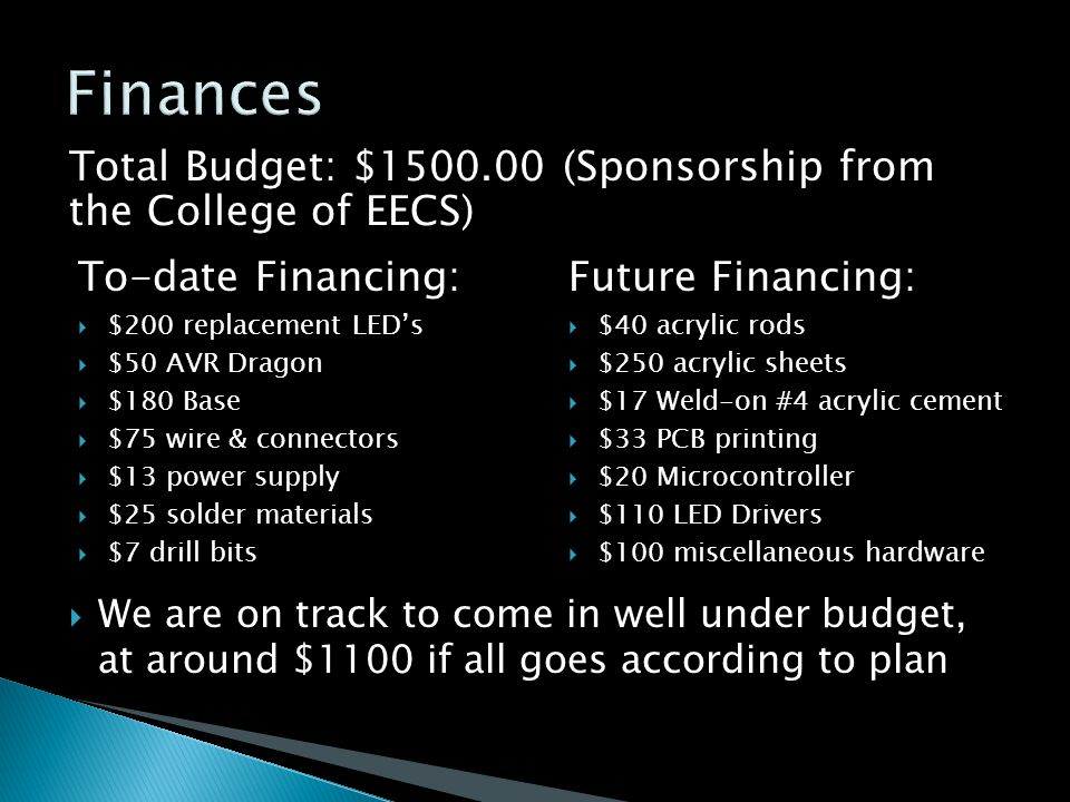 To-date Financing:  $200 replacement LED's  $50 AVR Dragon  $180 Base  $75 wire & connectors  $13 power supply  $25 solder materials  $7 drill bits Future Financing:  $40 acrylic rods  $250 acrylic sheets  $17 Weld-on #4 acrylic cement  $33 PCB printing  $20 Microcontroller  $110 LED Drivers  $100 miscellaneous hardware Total Budget: $1500.00 (Sponsorship from the College of EECS)  We are on track to come in well under budget, at around $1100 if all goes according to plan