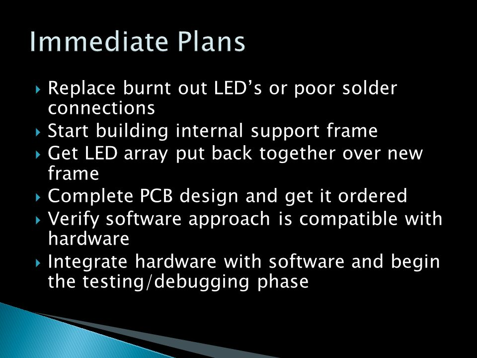  Replace burnt out LED's or poor solder connections  Start building internal support frame  Get LED array put back together over new frame  Complete PCB design and get it ordered  Verify software approach is compatible with hardware  Integrate hardware with software and begin the testing/debugging phase