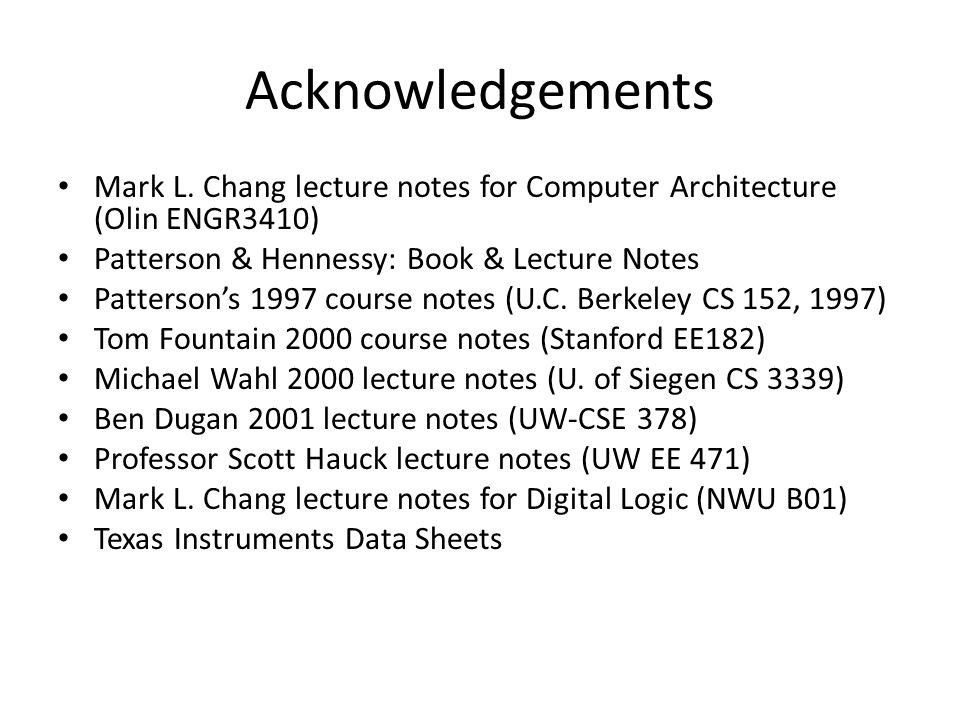 Acknowledgements Mark L.