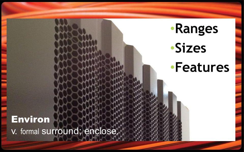 Ranges Sizes Features Environ v. formal surround; enclose.