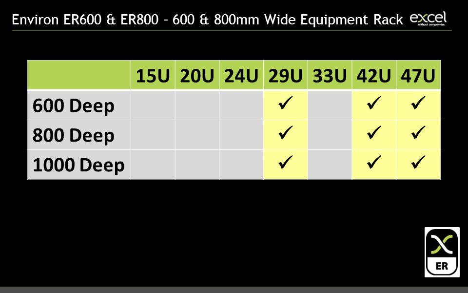 Environ ER600 & ER800 – 600 & 800mm Wide Equipment Rack 15U20U24U29U33U42U47U 600 Deep 800 Deep 1000 Deep
