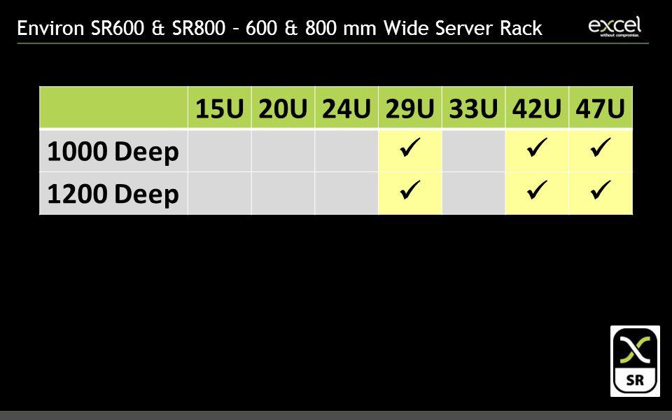 Environ SR600 & SR800 – 600 & 800 mm Wide Server Rack 15U20U24U29U33U42U47U 1000 Deep 1200 Deep