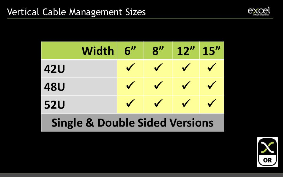 Vertical Cable Management Sizes Width6 8 12 15 42U 48U 52U Single & Double Sided Versions