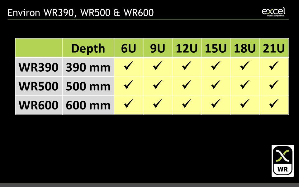 Environ WR390, WR500 & WR600 Depth6U9U12U15U18U21U WR390390 mm WR500500 mm WR600600 mm