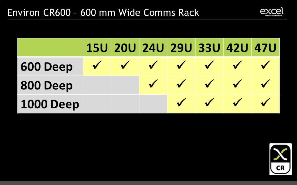 Environ CR600 – 600 mm Wide Comms Rack 15U20U24U29U33U42U47U 600 Deep 800 Deep 1000 Deep
