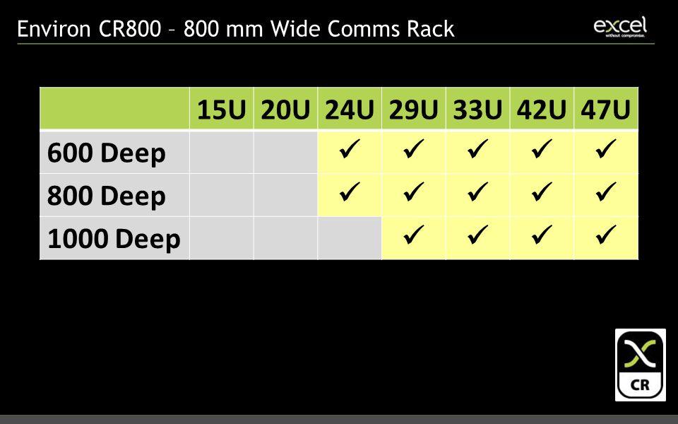 Environ CR800 – 800 mm Wide Comms Rack 15U20U24U29U33U42U47U 600 Deep 800 Deep 1000 Deep