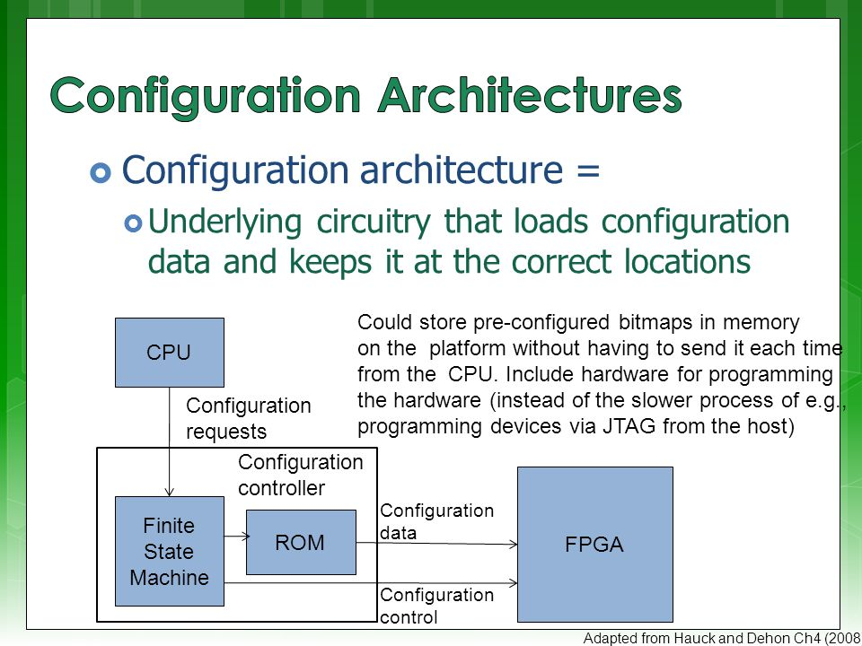  Larger systems (e.g., the VCC) may have many FPGAs to be programmed)  Models:  Sequentially programming FPGAs by shifting in data  Multi-context – having a MUX choose which FPGA to program Adapted from Hauck and Dehon Ch4 (2008) Configuration bit … FPGA Configuration clock Configuration enable IN OUT IN OUT IN OUT