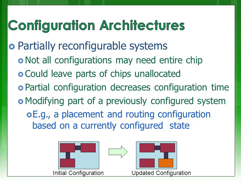  Block configurable architecture  Not the same as logical blocks in an FPGA  Relocating configurations to different blocks at run time also referred to as swappable logic units (SLUs)  Example: SCORE* relocatable architecture in which configurable blocks are handled in the same way as a virtual memory system * Capsi & DeHon and Wawrzynek.