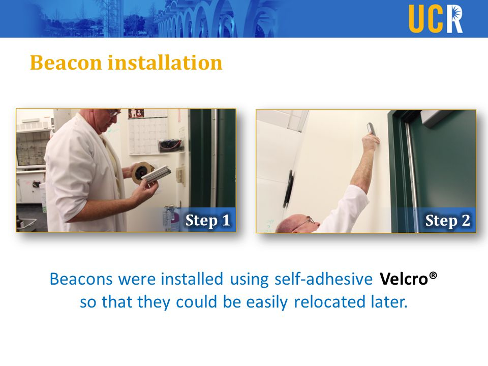 Beacon installation Beacons were installed using self-adhesive Velcro® so that they could be easily relocated later.
