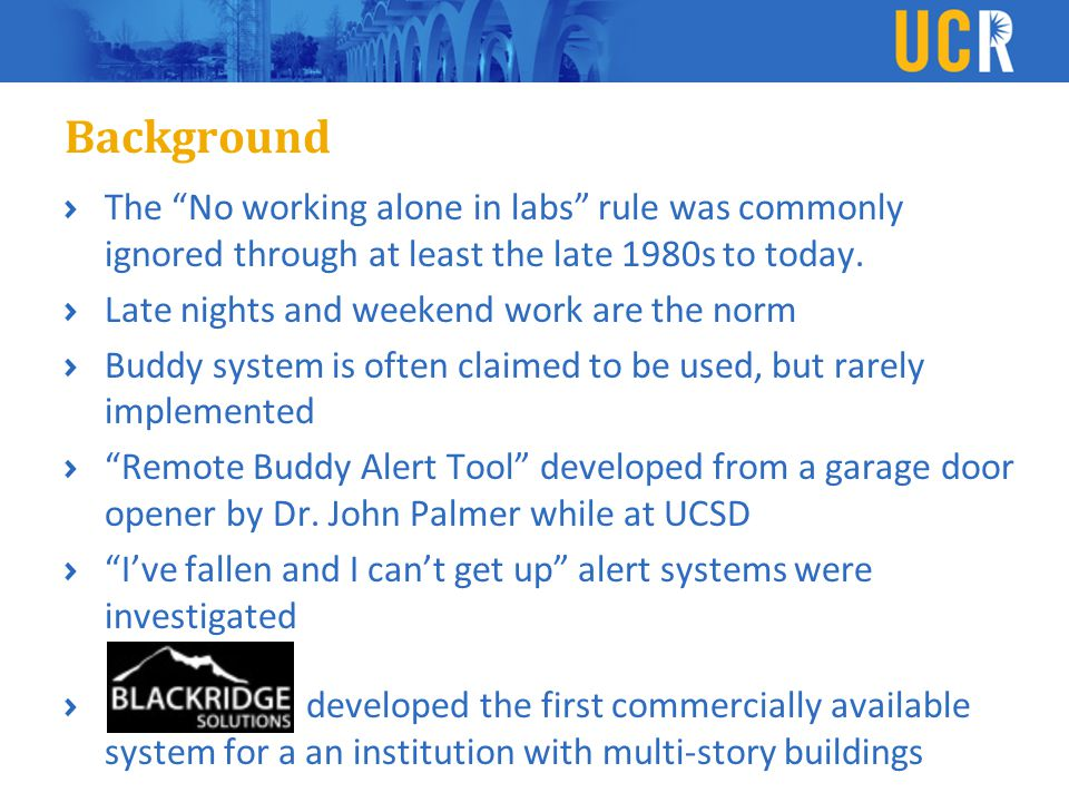 Background The No working alone in labs rule was commonly ignored through at least the late 1980s to today.