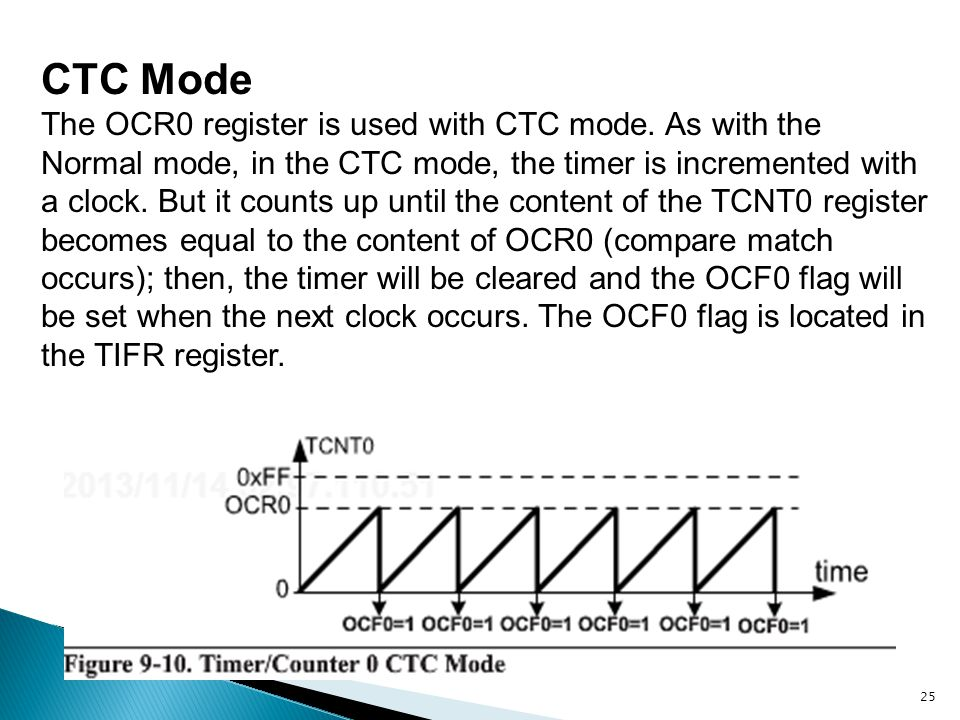 25 CTC Mode The OCR0 register is used with CTC mode. As with the Normal mode, in the CTC mode, the timer is incremented with a clock. But it counts up