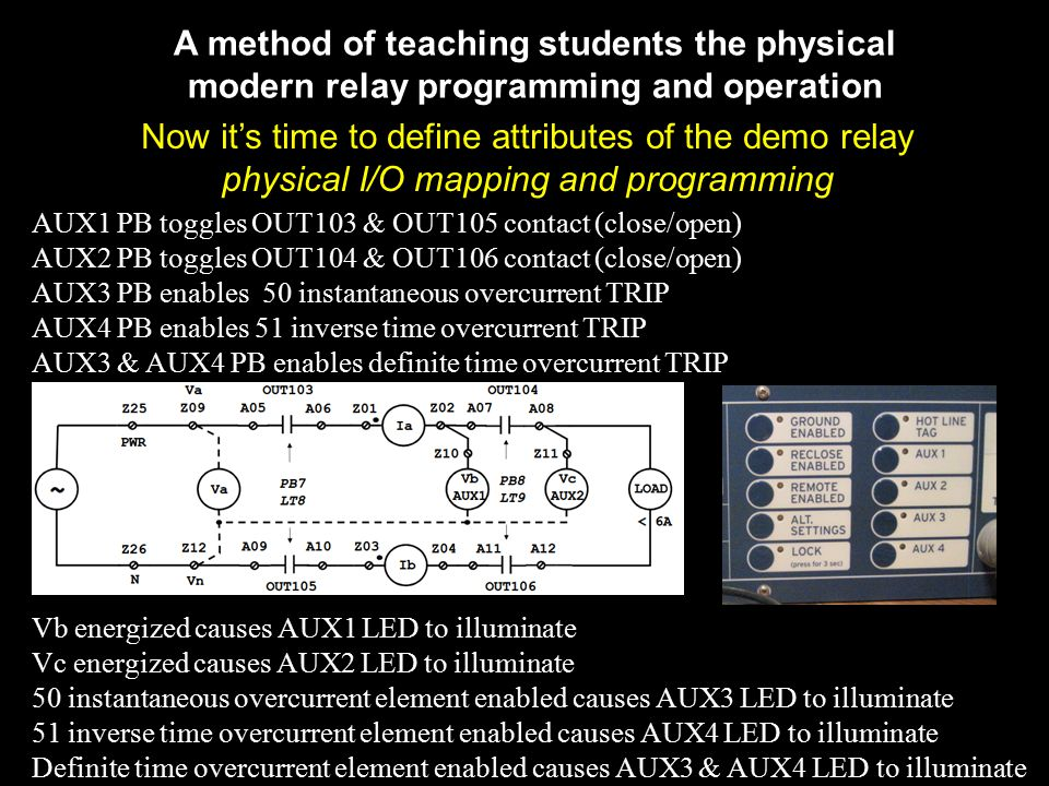 A method of teaching students the physical modern relay programming and operation Now it's time to define attributes of the demo relay physical I/O mapping and programming AUX1 PB toggles OUT103 & OUT105 contact (close/open) AUX2 PB toggles OUT104 & OUT106 contact (close/open) AUX3 PB enables 50 instantaneous overcurrent TRIP AUX4 PB enables 51 inverse time overcurrent TRIP AUX3 & AUX4 PB enables definite time overcurrent TRIP Vb energized causes AUX1 LED to illuminate Vc energized causes AUX2 LED to illuminate 50 instantaneous overcurrent element enabled causes AUX3 LED to illuminate 51 inverse time overcurrent element enabled causes AUX4 LED to illuminate Definite time overcurrent element enabled causes AUX3 & AUX4 LED to illuminate