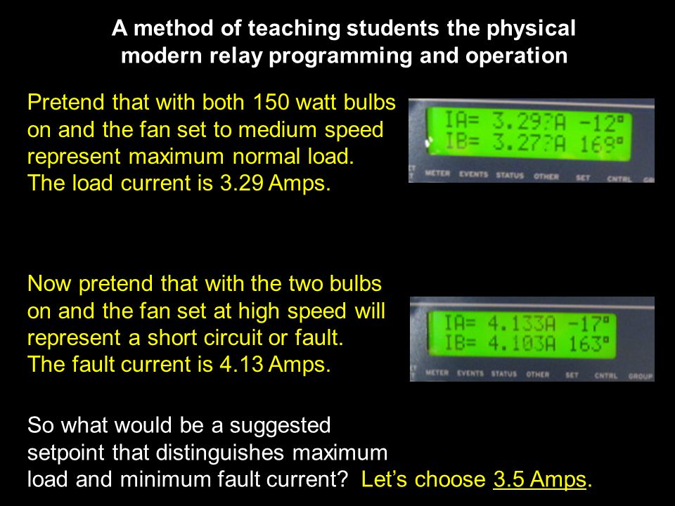 A method of teaching students the physical modern relay programming and operation Pretend that with both 150 watt bulbs on and the fan set to medium speed represent maximum normal load.