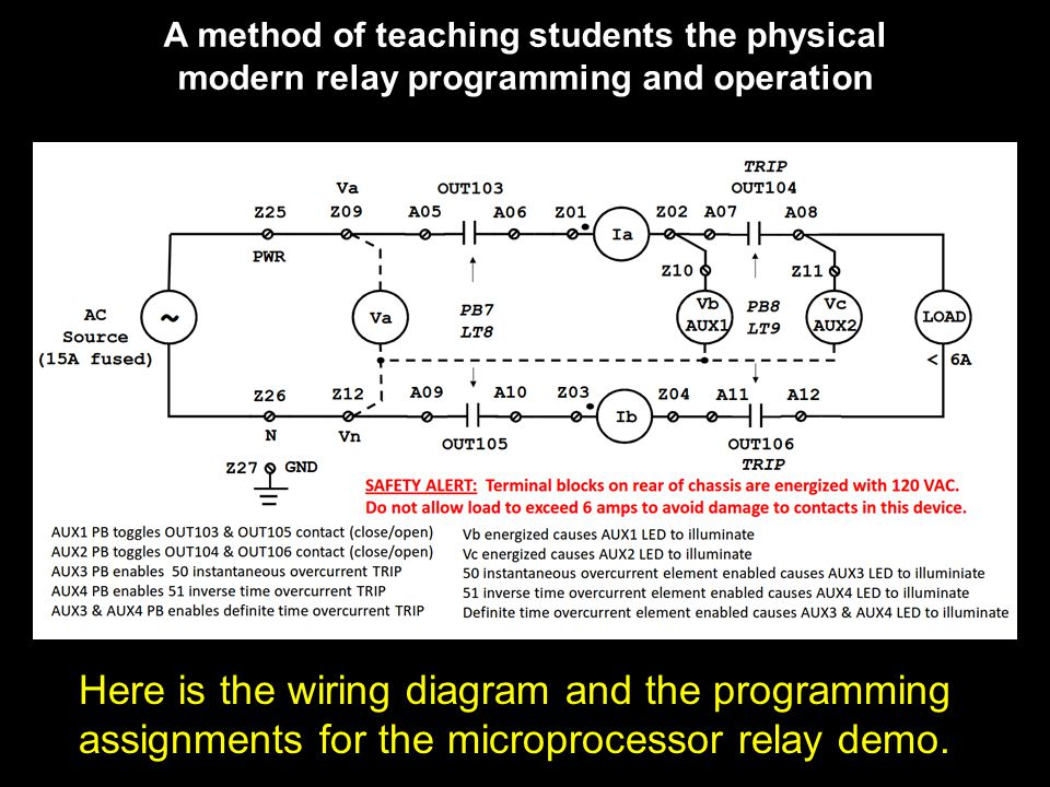 A method of teaching students the physical modern relay programming and operation Here is the wiring diagram and the programming assignments for the microprocessor relay demo.