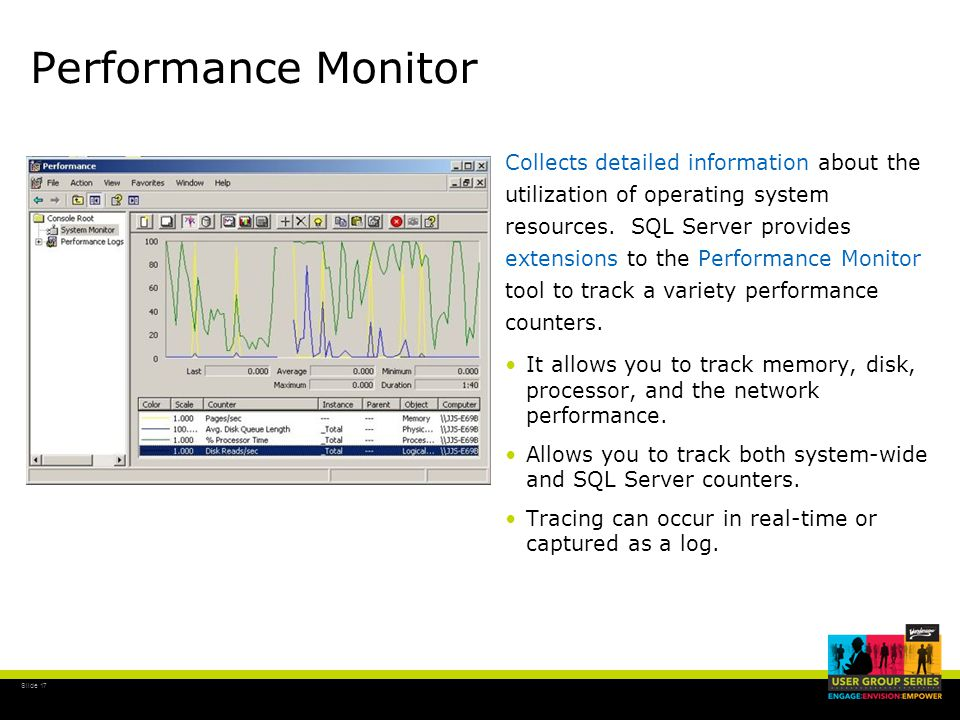 Slide 17 Performance Monitor Collects detailed information about the utilization of operating system resources.