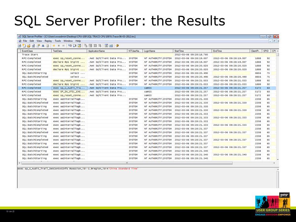 Slide 23 SQL Server Profiler: the Results