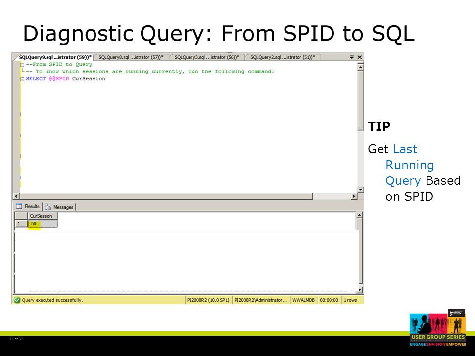 Slide 27 Diagnostic Query: From SPID to SQL TIP Get Last Running Query Based on SPID